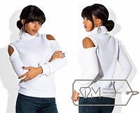 """Модный женский свитер под горло """"Оголенные плечи"""""""