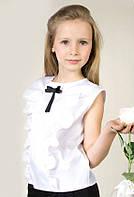 Блуза школьная белая с бантом и рюшами.134р.