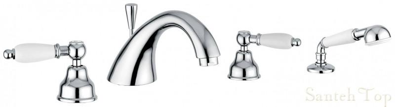 Смеситель для ванной Emmevi DECO ceramica 4 отв хром с/акс СR121120