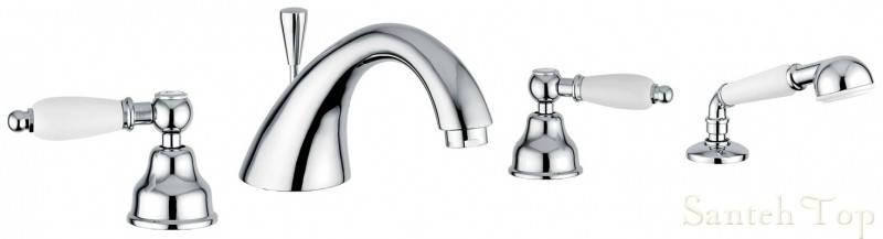 Смеситель для ванной Emmevi DECO ceramica 4 отв хром с/акс СR121120, фото 2