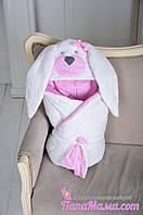 """Конверт-одеяло на выписку """"Мамина Зайка"""" розовый, фото 1"""