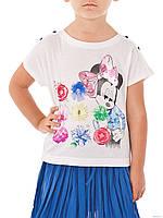 Итальянская футболка с Минни, разноцветные цветы дев. белый 50 % хлопок, 50 % модал 151BGFN009