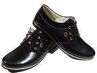 Туфли женские комфорт натуральная кожа черные на шнуровке (14)