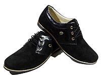 Туфли женские комфорт натуральная замша черные на шнуровке (14)