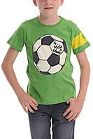 Испанская футболка с футбольным мячом,на рукаве желтая полоса мал. салатового 100% хлопок 40T3713