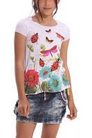 Испанская футболка талия на резиночке, с бабочками, божья коровка,цветы дев. Blanco белая 100% хл