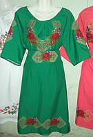 """Жіноче вишите плаття """"Маки"""" зелене"""