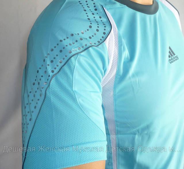 Мужские футболки спорт голубые №4321