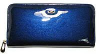 Женский кожаный кошелек синий большого размера