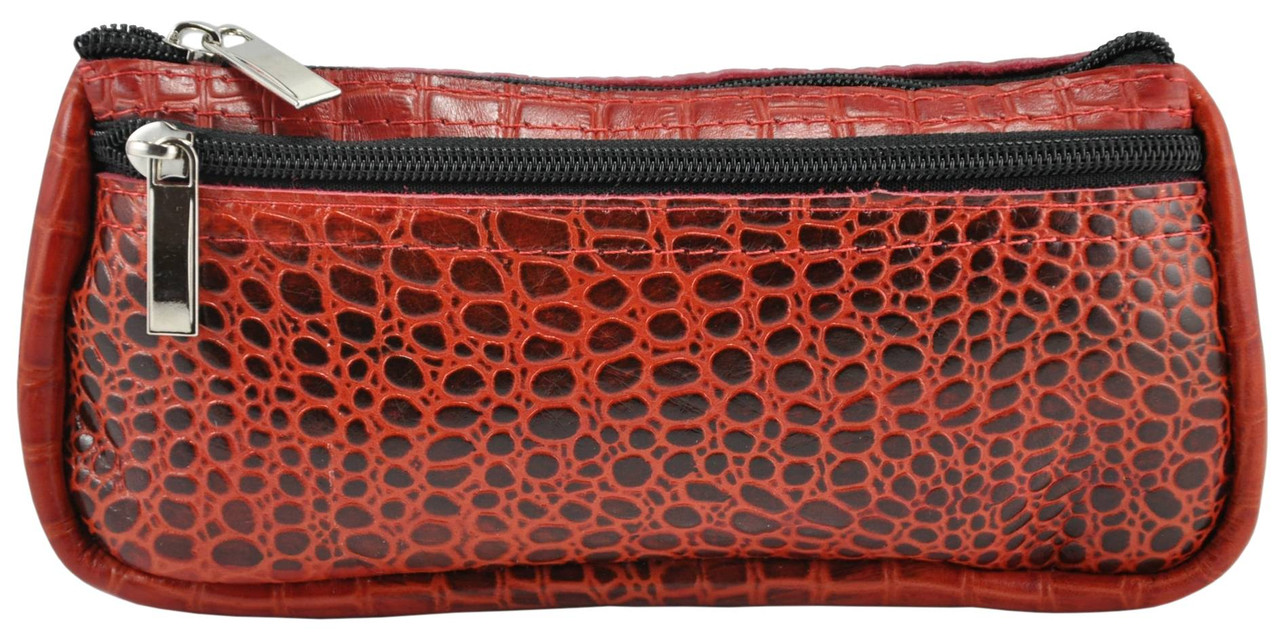 Кожаная косметичка органайзер Crocodile красная