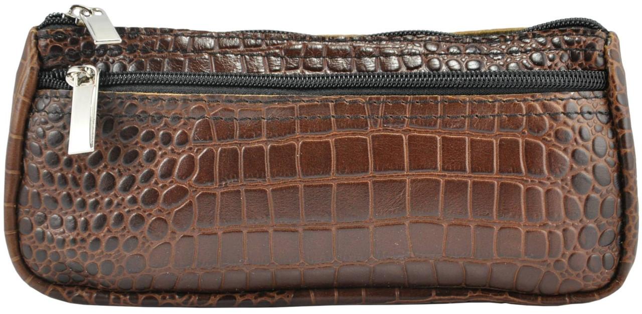 Кожаная косметичка органайзер Crocodile коричневая