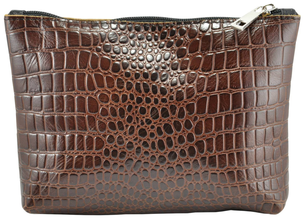 Кожаная косметичка Medi Crocodile коричневая