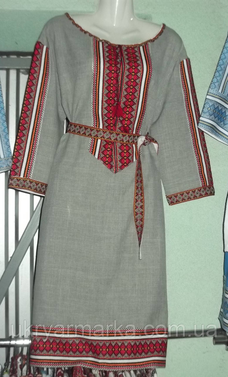 """Вишита  сукня """"Етнічна"""" сіра"""