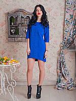 Синее вышитое платье