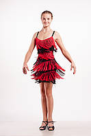 Платье латина ''Вивальди'' черное с красным