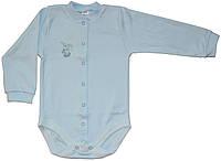 Боди для самых маленьких, голубой с зайкой, рост 80/86 см, Фламинго