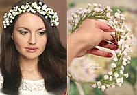 """Свадебный венок с цветами """"Сказочная гипсофила"""" ручной работы с цветами гипсофилы из полимерной глины decoclay"""