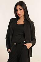 Стильный пиджак прямого силуэта с высоким воротником-стойкой, по бокам расположены карманы, 42-52 размеры, фото 1
