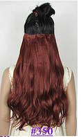 Волнистая накладная прядь на 5-ти заколках-клипсах, цвет #350 - темно-красная медь
