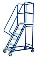 Лестницы передвижные складские четырехколесные