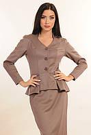 Пиджак на подкладке, отрезной по линии талии с баской ассиметричной формы, длинный рукав-реглан, 42-52 размеры, фото 1