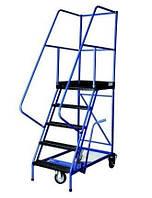 Лестницы передвижные складские трехколесные