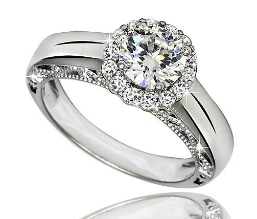 Серебряное родированное помолвочное кольцо солитер с одним камнем усыпка россыпь цирконием, фианитом к00038