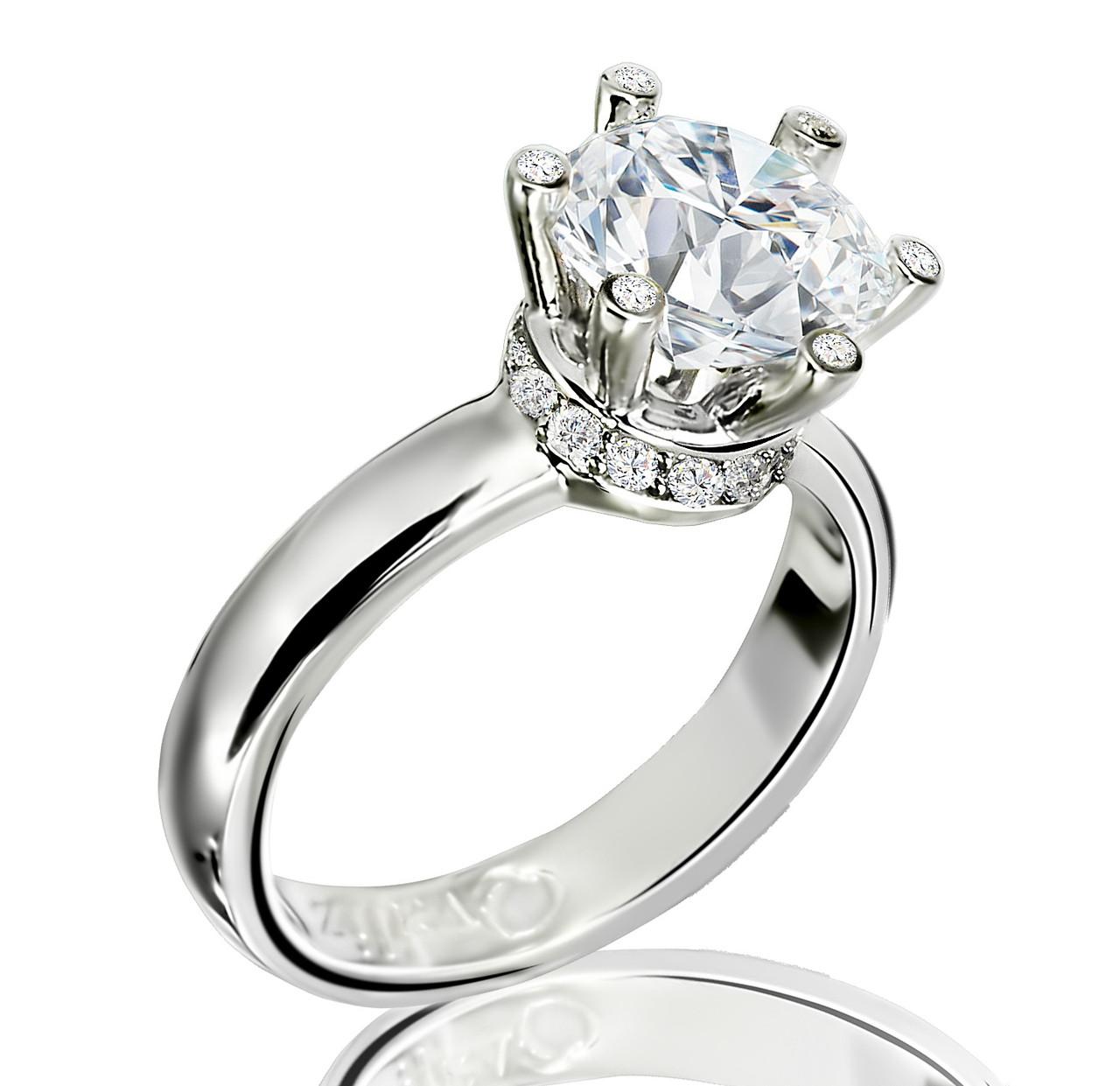 Серебряное родированное помолвочное кольцо солитер с одним камнем усыпка россыпь цирконием, фианитом к00437
