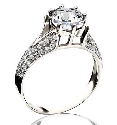 Серебряное родированное помолвочное кольцо солитер с одним камнем усыпка россыпь цирконием, фианитом к00188кв