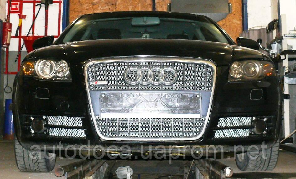 Декоративно-захисна сітка радіатора Audi A4 (B7) фальшрадіаторная решітка, бампер