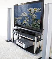 Тубма под телевизор из черного стекла Валье