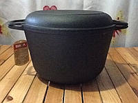 Кастрюля чугунная с чугунной-крышкой сковородкой 3 литра