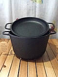 Каструля чавунна з чавунною кришкою-сковорідкою 6 літрів, фото 3
