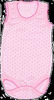 Детский боди-майка р 80 в горошек, тонкий хлопок (стрейч-кулир), ТМ Незабудка