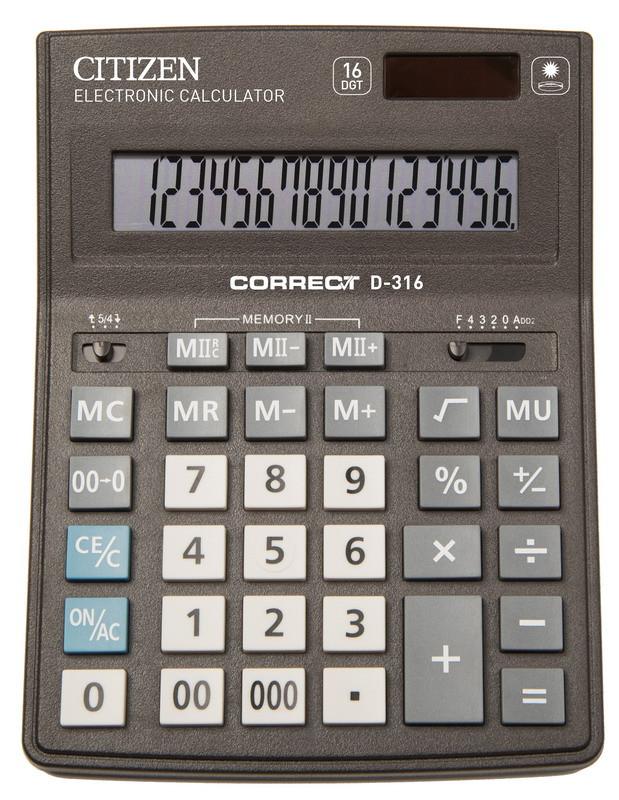 Калькулятор Citizen Correct D-316 настольный 16р