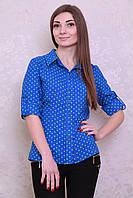 Женская блуза-рубашка в горошек из натуральной ткани