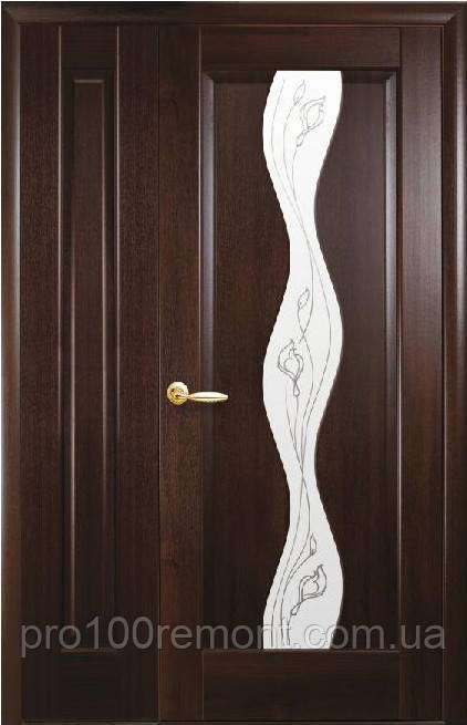 Комплект дверей двустворчатый Волна сатин с Р2 + глухое от Новый стиль (венге new, зол.ольха, каштан, ясень)