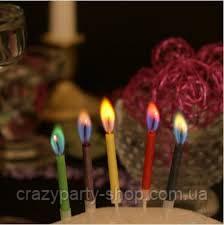 Свечи для торта Разноцветные огни 5 шт.