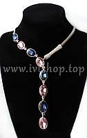 Колье под серебро с синими и розовыми камнями