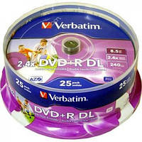Диск Verbatim DVD + R DL (8,5Gb, 8x, cake 25pcs) по1шт