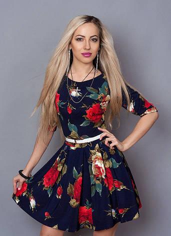 Молодежное платье с цветами , фото 2
