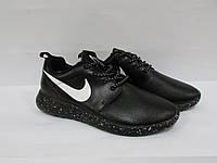 Кроссовки мужские кожаные Найк (551) черные подошва в белую точку код 996А