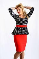 Стильное женское платье с баской в горошек рукав три четверти трикотаж соты батал