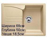 Мойка кухонная врезная гранит размер 68 на 50 см прямоугольная производство Украина, фото 1