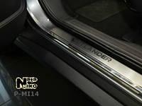 Накладки на пороги на Мицубиси Оутлендер  с 2012> (нерж) 4-шт. NataNico.