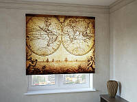 Рулонные шторы с фотопечатью старинная карта