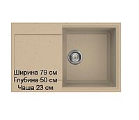 Мойка кухонная врезная гранит размер 79 на 50 см  Прямоугольная  сКрылом производство Украина, фото 1