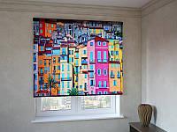 Рулонные шторы в детскую цветные домики