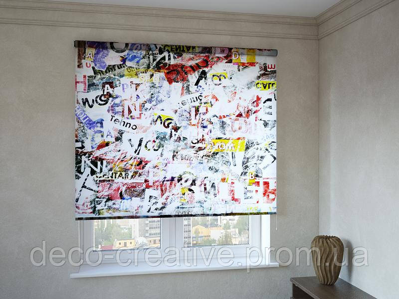 Рулонные шторы абстракция букв