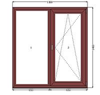 Металлопластиковое двустворчатое окно WDS ламинированное (1300*1400)